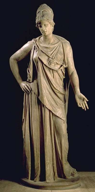 ATHENA (Roman MINERVA) is the Greek Goddess of wisdom, justice, and war. She is the daughter of Zeus and Metis. She is the patron Goddess of the city of Athens, and is often represented by an owl.