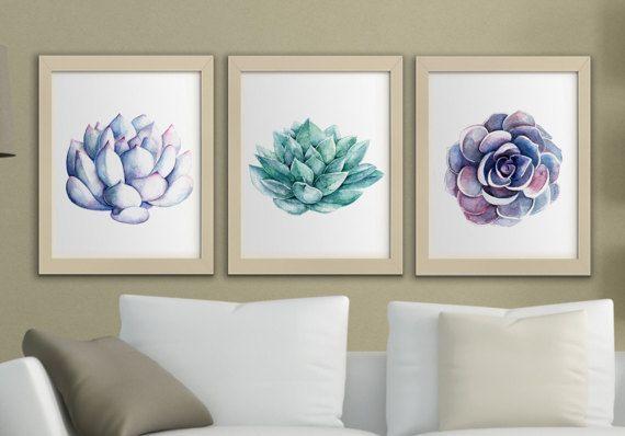 Succulents Printable Watercolor Wall Art Set Of 3 Succulent