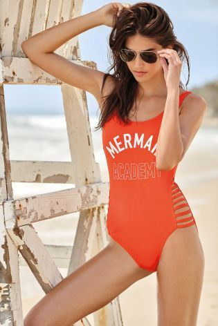 Красный купальник с надписью Mermaid - Покупайте прямо сейчас на сайте Next: Украина