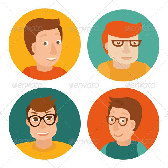 Vector Set of Avatars in Flat Style - Characters Vectors