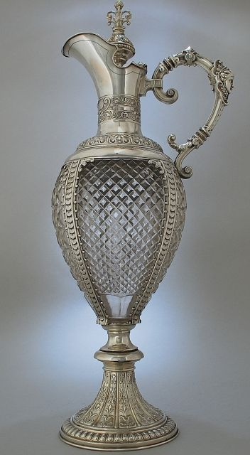 Fantastic tall crystal glass and silver wine jug/decanter by Meyen Co, Berlin c. 1880:
