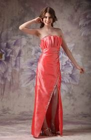 Orange Red Strapless High Low Design Prom Dress For Sale