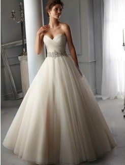 A-Line/Princess Sweetheart Court Train Organza Wedding Gown With Beading