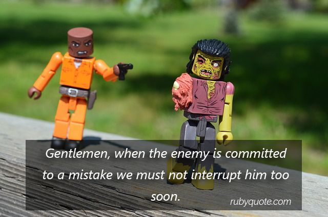 Gentlemen, when the enemy is committed to a mistake we must not interrupt him too soon.