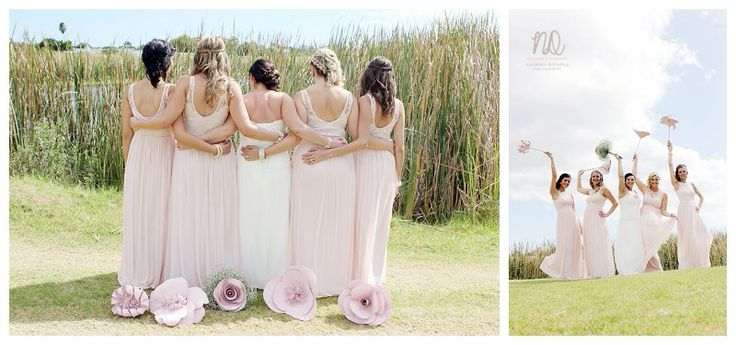 A stunning bride and her bridesmaids, with absolutely gorgeous wedding flowers by MiaBella Paper Productions.