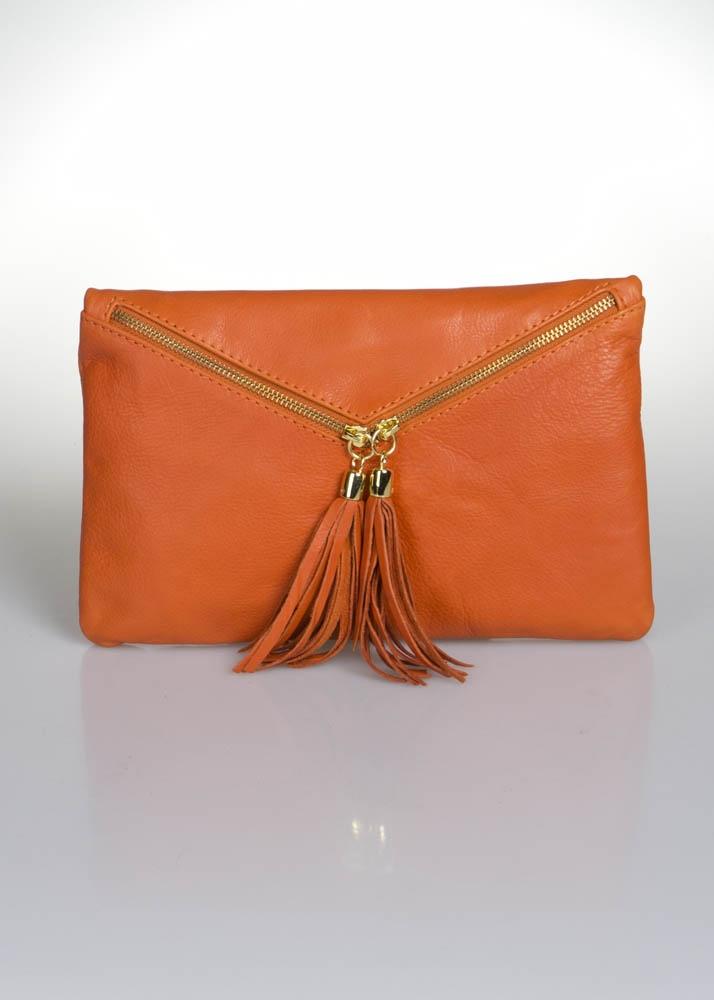 Orange leather clutch