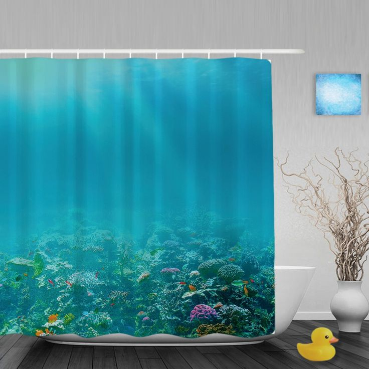 Underwater Coral Reef Bathroom Shower Curtain Marine Life Designs Shower Curtains Waterproof Mildew Polyester Fabric With Hooks #Affiliate