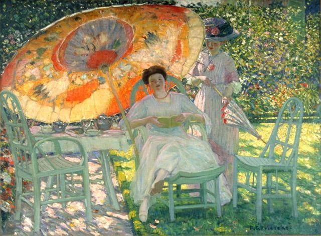 I think that there are hints of our orange-y friend in here... The Garden Parasol, Frederick Carl Frieseke