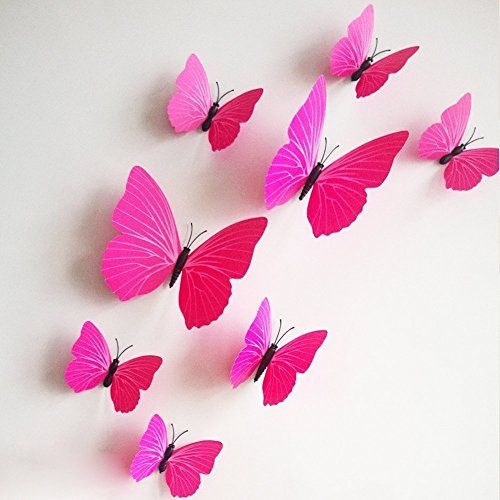 Removable 3D Butterfly Wall Sticker Magnet Art Design Decorative Butterfly Sticker Decal For Home Decor – Plain Pink Color