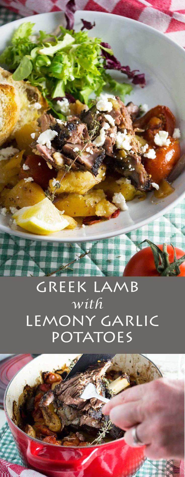 Greek lamb with lemony garlic potatoes (lamb kleftiko). Perfect for low maintenance (but impressive!) entertaining!