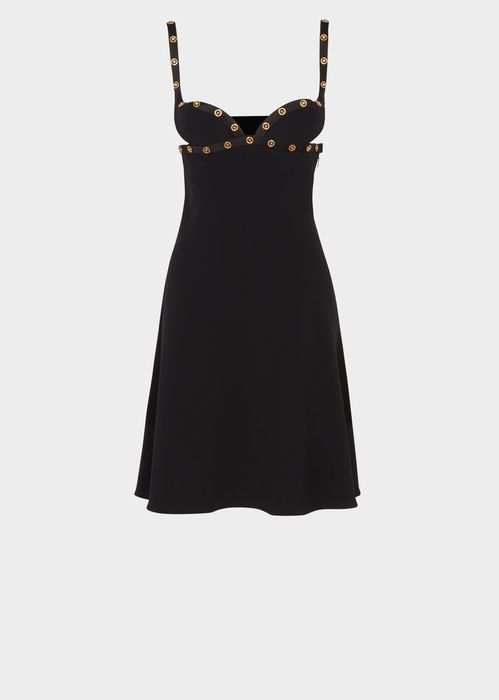 Versace Medusa Top Stitch Mini Dress for Women | US Online Store. Medusa Top Stitch Mini Dress from Versace Women's Collection. This Medusa top stitch mini dress the is the ultimate cocktail staple. It features gold Medusa studs and is made with the finest quality silk.