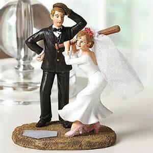 Baseball wedding cake topper