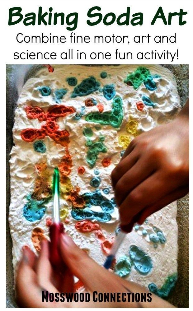 Baking Soda Art. Combine fine motor, art and science all in one fun activity