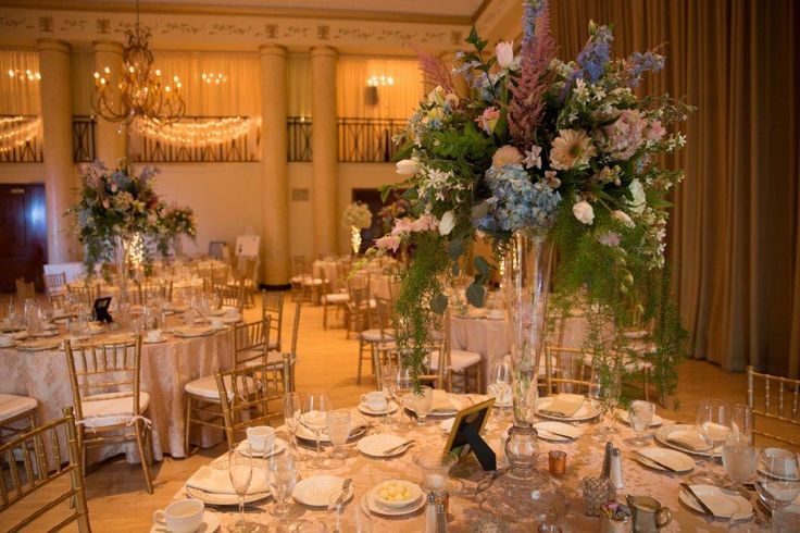 The Crystal Ballroom at The DuPont Country Club.  Flowers by Celebrations Design Group.