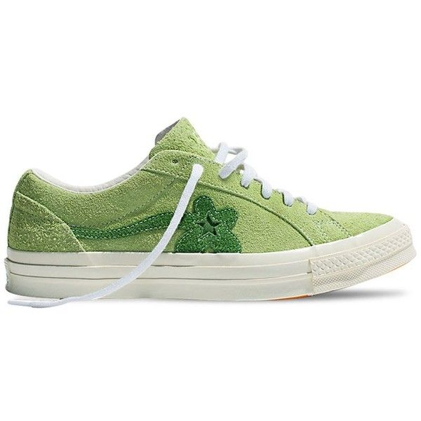 Converse X Tyler The Creator Men One Star Golf Le Fleur Suede Sneakers ($155) ❤ liked on Polyvore featuring men's fashion, men's shoes, men's sneakers, light green, mens suede shoes, mens rubber sole shoes, mens shoes, g star mens shoes and converse mens shoes