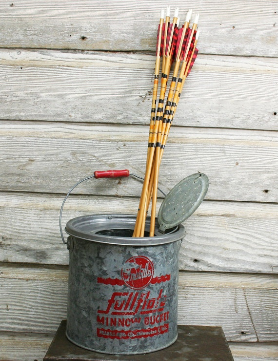 Vintage Galvanized Metal Fence Top Finial Fence Post: Vintage Galvanized Steel Minnow Bucket -- Industrial Vase