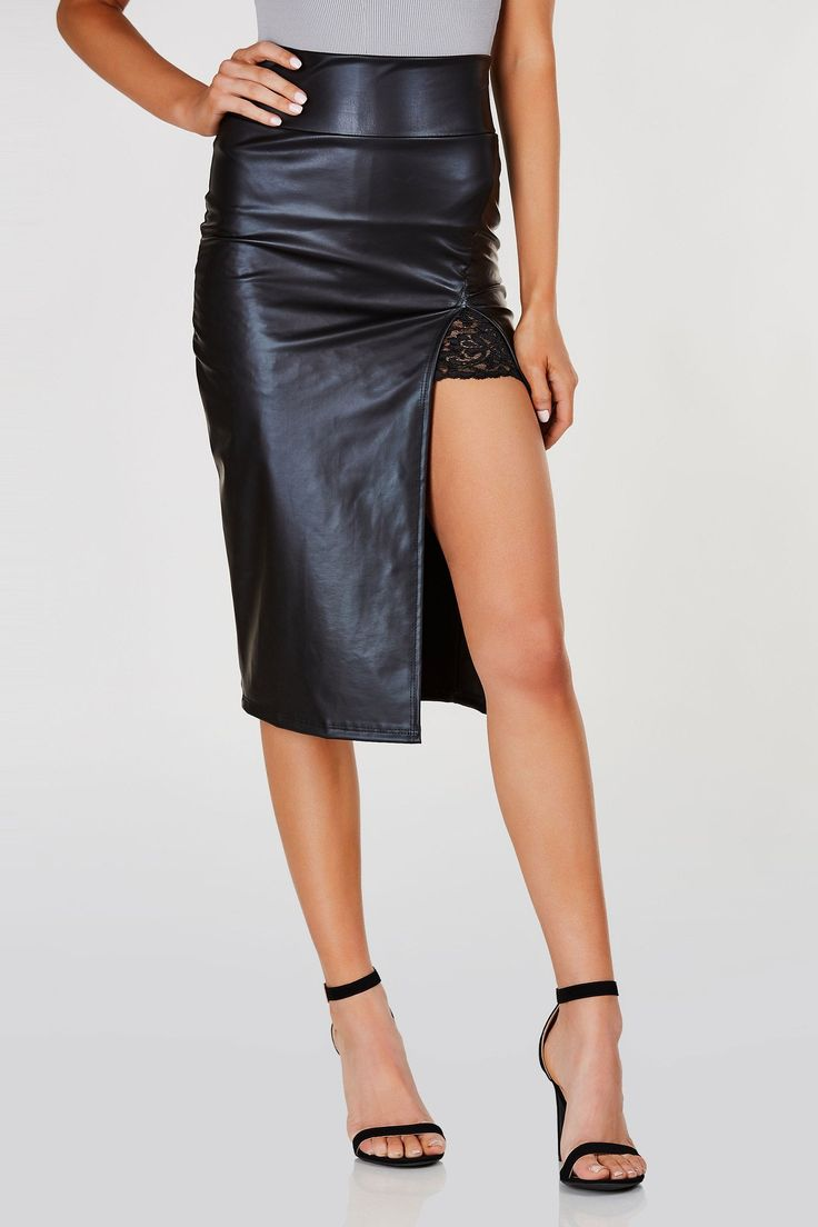 Bodycon fit midi skirt with faux leather finish with a high slit. Lace trim detailing underneath with straight hem all around.