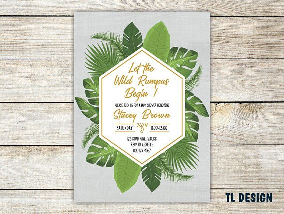 "Into the wild Baby Shower Invite - Tropical and Gold Baby Shower Invite - Personalised Printable File - 4x6""/5x7"""