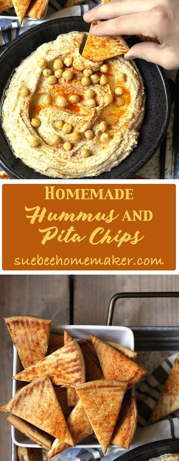 Homemade Hummus and Pita Chips makes a perfect party appetizer, or game day snack. Taking the skin off the chick peas takes some time, but so worth it!