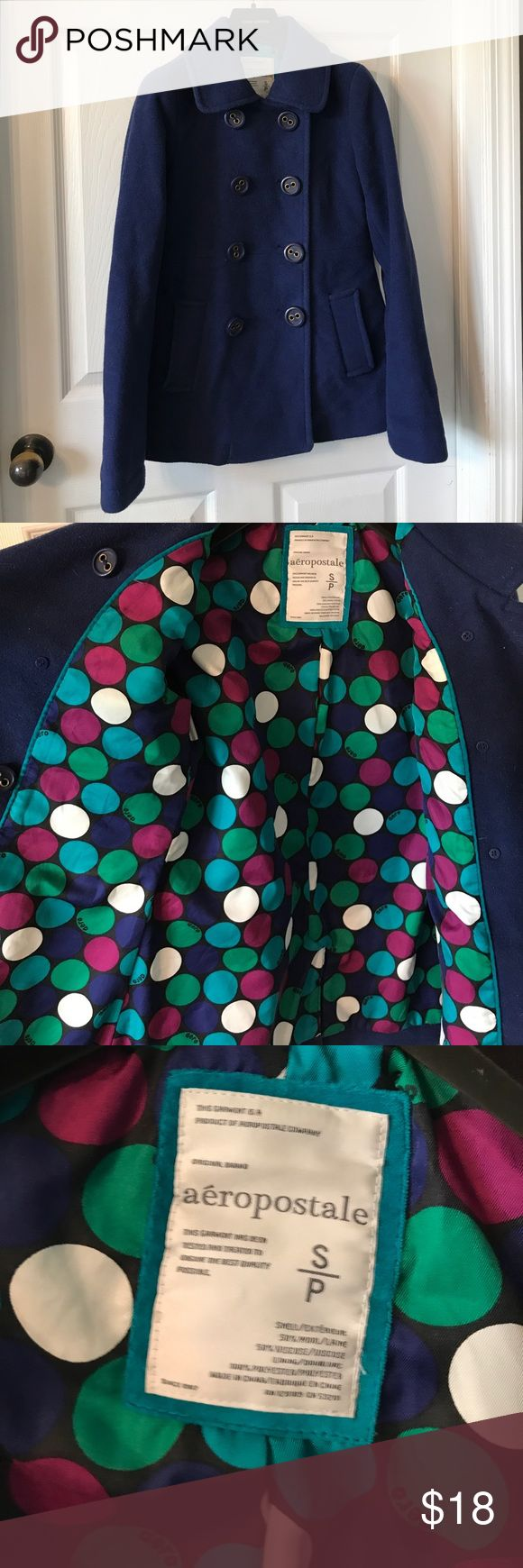 Aeropostale size small peacoat 50% wool 50% viscose 100 polyester lining. Some fuzzing as shown. The color is a True royal Blue. This is a size small in good used condition Aeropostale Jackets & Coats Pea Coats