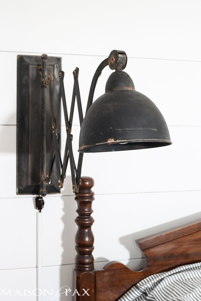 antique bed vintage accordion sconce shiplap walls vintage school desk as bedside table bedroomalluring members mark leather executive chair