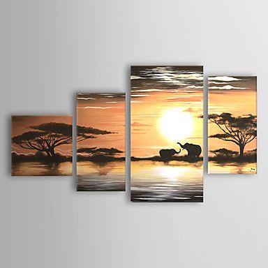 現代アートなモダン キャンバスアート 絵 壁 壁掛け 油絵の特大抽象画4枚で1セット ジャングル アフリカ 夕日 象 野生動物 親子【納期】お取り寄せ2~3週間前後で発送予定【送料無料】ポイント