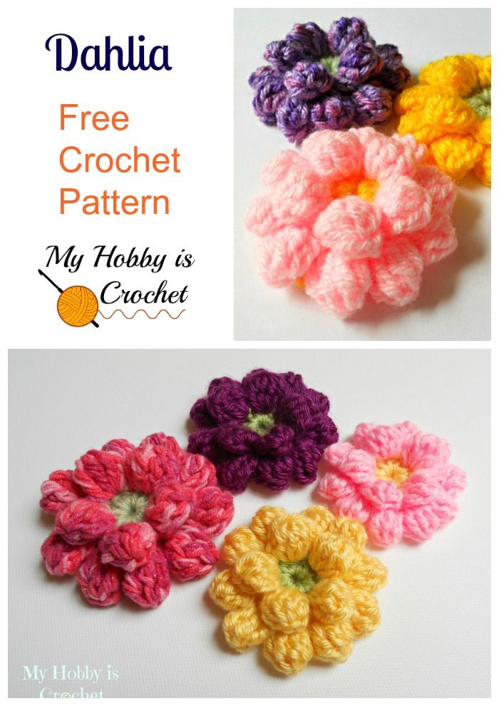 My Hobby Is Crochet: Crochet Dahlia Flower - Free Pattern with Step by Step Pictures and Video Tutorial | My Hobby is Crochet