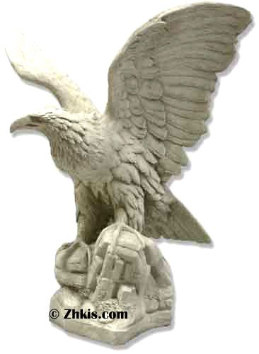 Big outdoor eagle statue. Makes a great display for outdoors or your garden. Made of durable fiberglass with several color options available. Metal mounting hardware is also available upon request.
