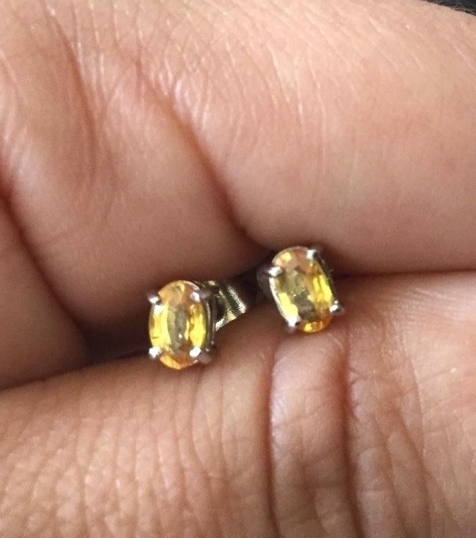 Chanthaburi Yellow Sapphire Stud Earrings Rhodium Plated 925 Sterling Silver