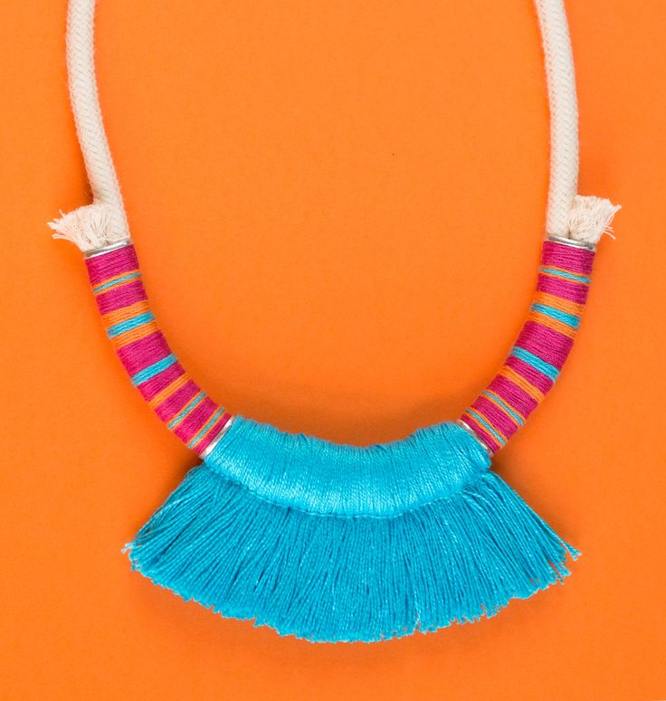 Summer and fresh! | #deuxsoray #necklace #rope #ropenecklace #jewelry #handmade #etsy #seller #tassel #summer #fresh #orange #blue #colorful #accessories #sisters #two #bewhoyouare