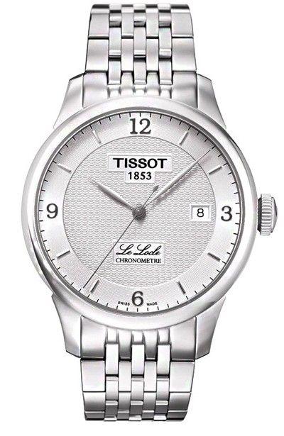 Montre TISSOT Homme Le Locle, cadran blanc, modèle automatique calibre ETA 2824-2, verre saphir et bracelet acier.