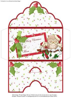 WARMEST HOLIDAY WISHES Christmas Money Wallet Envelope on Craftsuprint designed by Janet Briggs - Christmas money wallet or gift voucher holder, featuring cute owls.Sentiment tag on the front reads Merry Christmas, To and FromIdeal for Christmas gift vouchers, money, Craftsuprint vouchers, lottery tickets etc. - Now available for download!