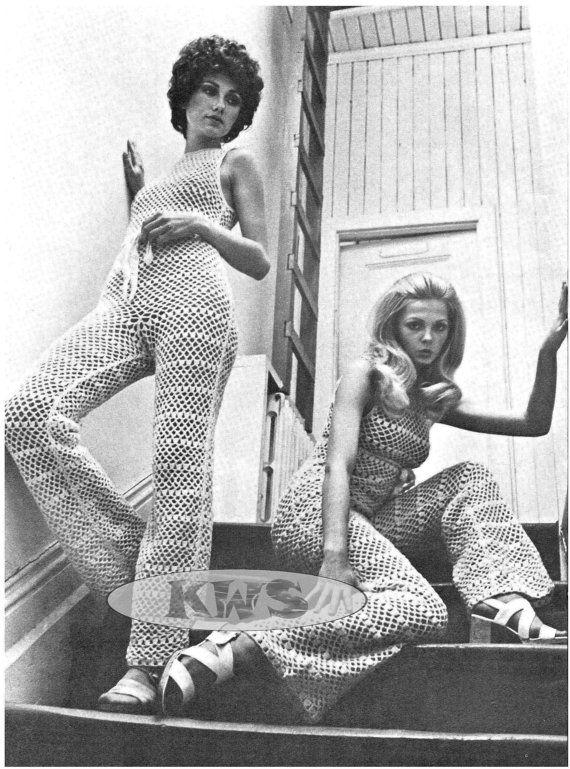 "Vintage Hippie 70s Crochet ""JUMPSUIT"" Halter Top & Bell Bottom Pants Style - PDF Pattern - UK"