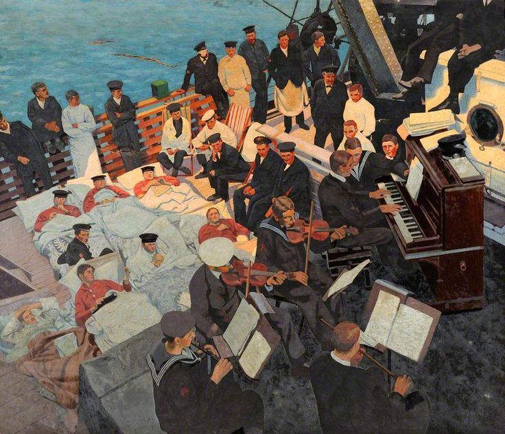 First World War: Wounded Sailors Listening to Musicians Playing on Board a Ship, c. 1918 by Oswald Moser (British 1874–1953)