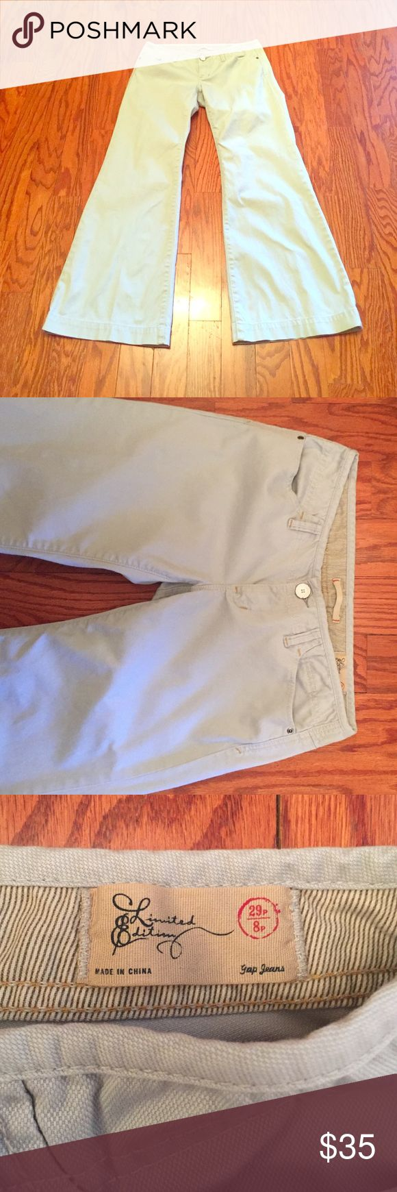 Limited Edition Super Low Rise Ultra Flare Jean Limited Edition Super Low Rise Ultra Flare Jean, size 8 PETITE! These are in pristine condition, washed but never worn. Gorgeous light grey color. Super Flare is going to be so in this spring....  No rips or stains! GAP Jeans Flare & Wide Leg