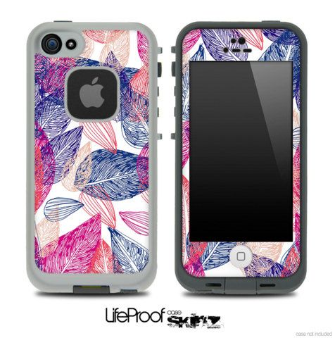 Color Seamless Leaves Skin for the iPhone 4/4s or 5 LifeProof Case on Etsy, $9.99