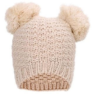 fa01a942df0d3 Women s Cute Winter Warm Knit Double Beanie Hat with Pom Pom Ears