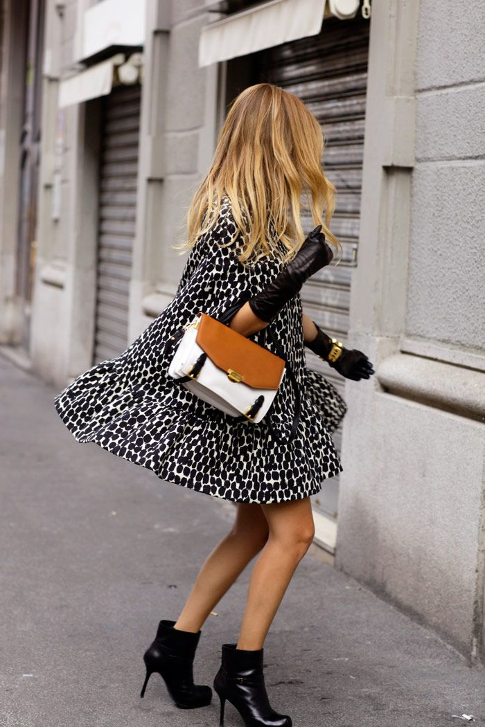 MSGM cape, Tory Burch leather gloves, YSL booties, Trussardi Diane bag