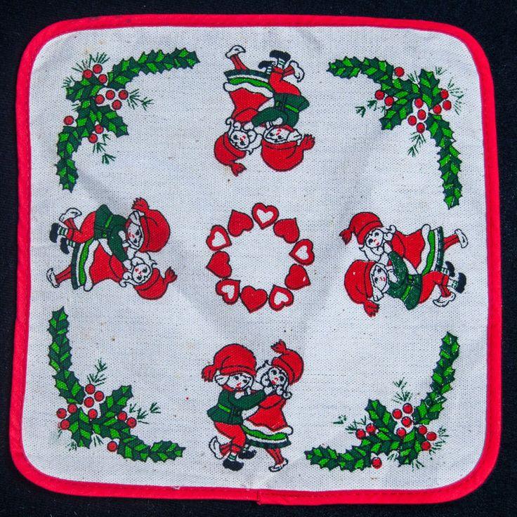 Vintage Christmas Tablecloth Doily Swedish Norwegian Dancing Elves Hearts