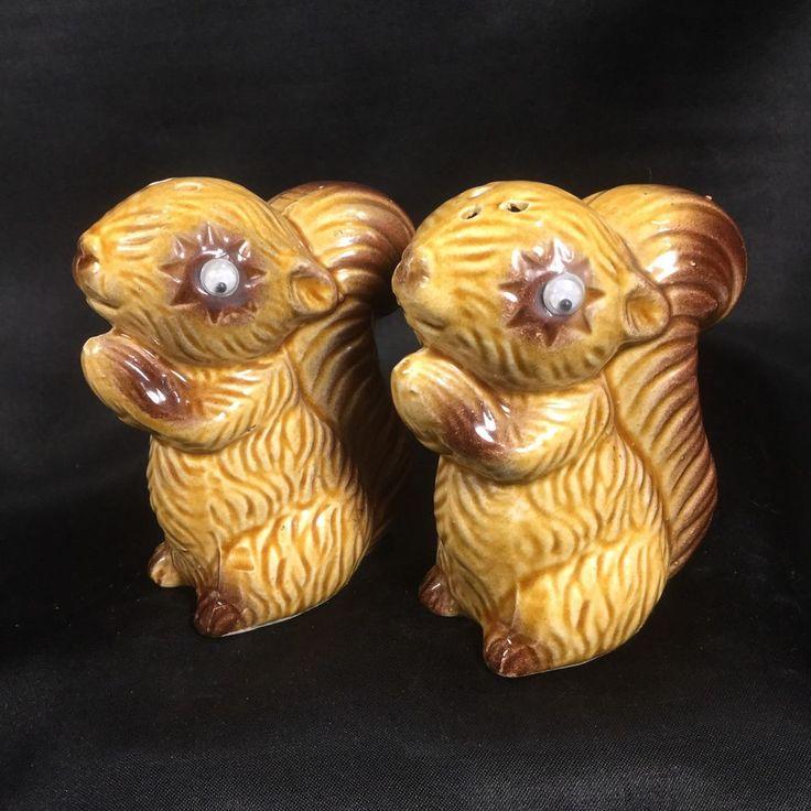 Vintage Googly Eyed Squirrel Salt Pepper Shakers NEVER USED Kinda Weird JAPAN