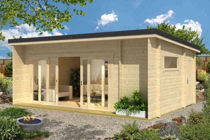 44 mm Ferienhaus Java Blockhaus Gerätehaus Holzhaus Flachdach Gartenhaus Holz