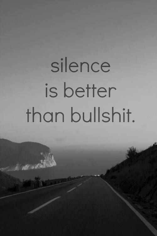 Silence is better than bullshit.   Found on Rebel Circus Facebook page https://www.facebook.com/therebelcircus/photos/a.519639714741404.1073741828.517549624950413/681347701903937/?type=1&theater