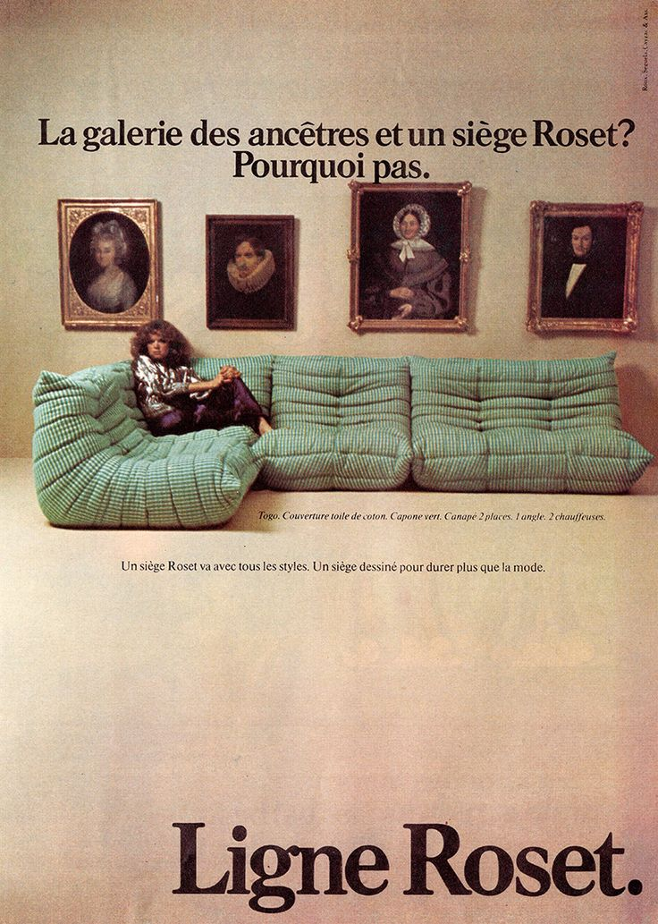 An advertisement for the classic Togo, the world's first all-foam sofa designed by Michel Ducaroy in 1973.
