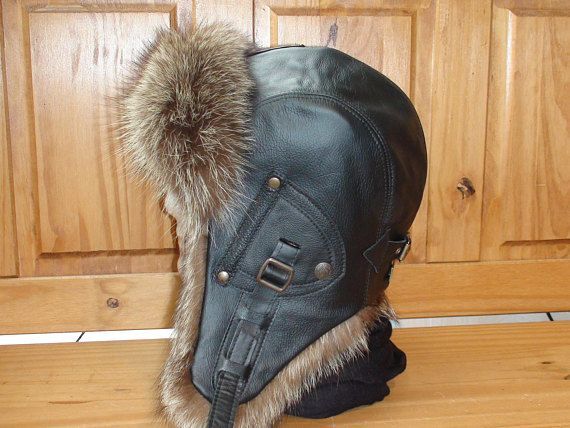 Buy online! FREE SHIPPING! Men/Women Aviator/Trapper/Russian/Ushunka Hat/Cap, real black leather, recycled raccoon fur