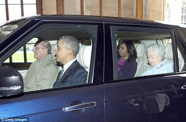 3/27/17 Duke of Edinburgh retires the beloved black cab that let him drive round London unnoticed    US President Barack Obama, First Lady Michelle Obama and Queen Elizabeth II arrive at the Sovereign's Entrance in the Quadrangle of Windsor Castle driven by Prince Philip, Duke of Edinburgh