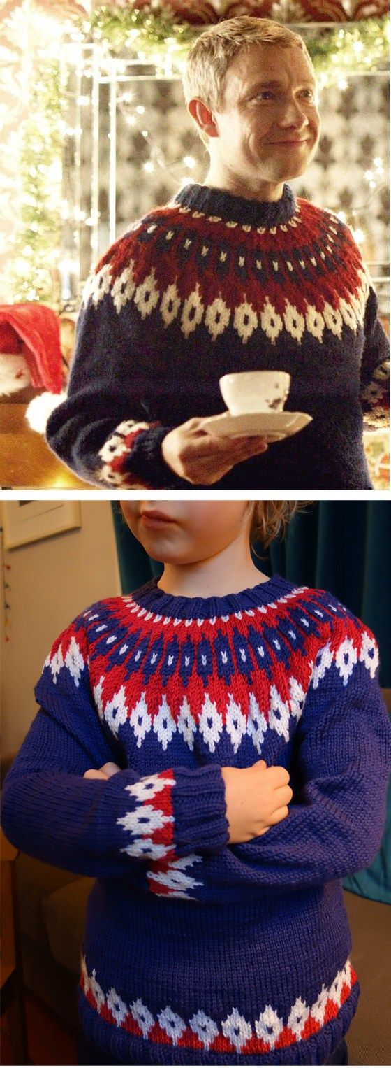 Free Knitting Pattern for John Watson's Christmas Jumper seen in the Sherlock BBC series - Professor Fonz's Meretricious Sweater was inspired by John Watson's Christmas sweater in A Scandal in Belgravia. The jumper's fair-isle patterns from the original Icelandic sweater design. In adult and child sizes.