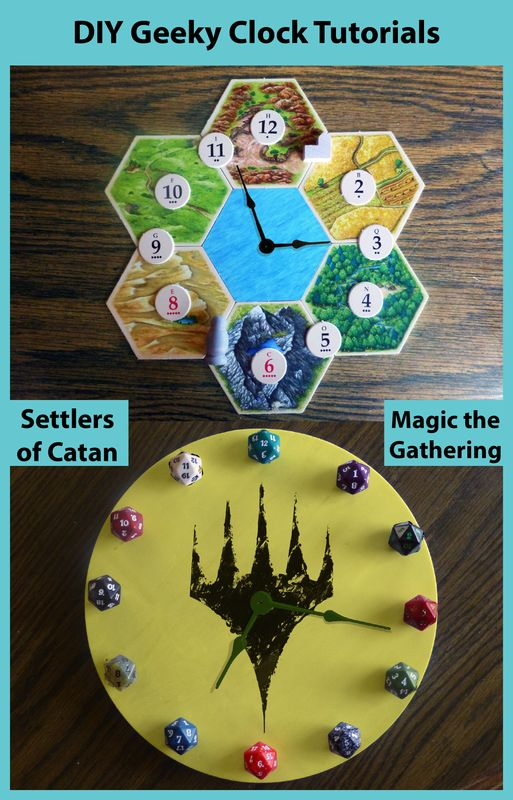 DIY Geeky Clocks: Settlers of Catan board game & Magic the Gathering trading card game. Planeswalkers and D20 dice used in nerdy craft project -via The Nifty Nerd
