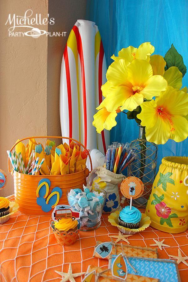 Hello Summer Surf Beach Boy Girl Party Planning Ideas Decorations