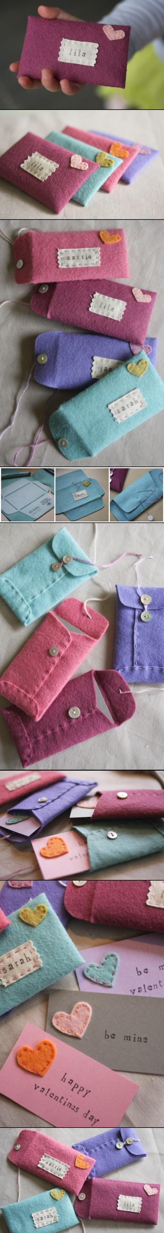 Embroidered Felt Envelopes #Embroidery #Embroider #Felt #Project #DIY #Envelope #Valentine #Indie #ColorBlock #Geometric #Pastel