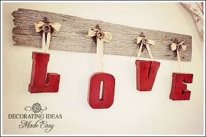 valentine decorating ideas, crafts, seasonal holiday d cor, valentines day ideas, Hang your painted letters with ribbon
